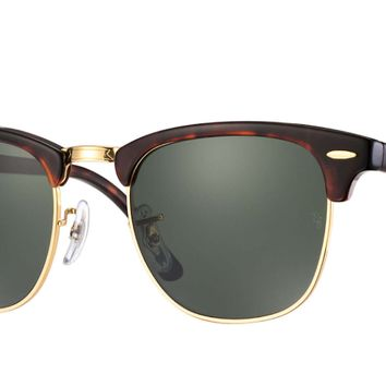 Ray-Ban RB3016 W0366 51MM Clubmaster Mock Tortoise Green Crystal Lens Sunglasses