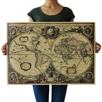 Dedc Vintage Globe Old World Map Matte Brown Paper Poster Home Wall Decor