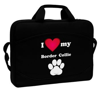 """I Heart My Border Collie 15"""" Dark Laptop / Tablet Case Bag by TooLoud"""