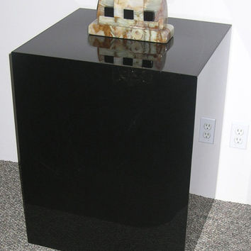 Black Lucite Side Table/ Pedestal Sculpture Base