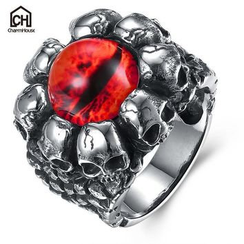 Antique Evil Eye Male Ring with Red Yellow Stone Big Size Vintage Titanium Steel Skull Rings