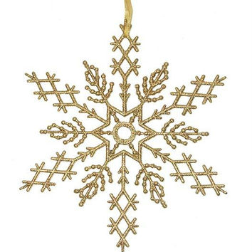 2 Commercial Snowflake Ornaments - Color:vegas Gold
