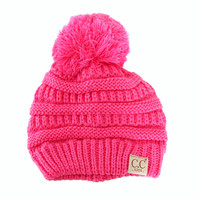 C.C. Beanie Cable Knit Beanie with Pompom for Kids in New Candy YJ847POM-NEWCANDY