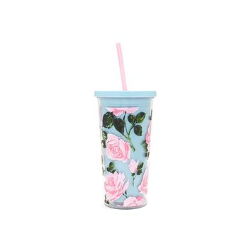 ban.do - sip sip tumbler with straw - rose parade