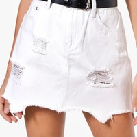 Helen Ripped Hem Denim Mini Skirt | Boohoo