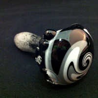 Glass Pipe Inside Out Grey and White Frit with Matching Switchback Cap Tobacco Spoon Pipe