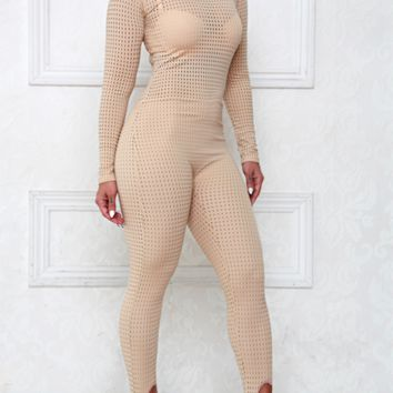 Au Naturel Nude Mesh Stirrup Jumpsuit