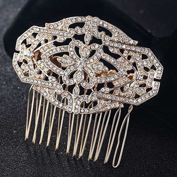 Blucome Fashion Women Hair Accessories Perfect Flower Hairpins Tiara Women Bridal Head Jewelry for Gifts Colar hair Combs Bijoux