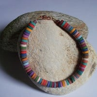 Unisex Polymer Clay Bracelet, Beaded Surfer Bracelet, multi colors