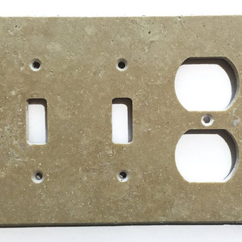Light Walnut Travertine Double Toggle Duplex Switch Wall Plate / Switch Plate / Cover - Honed
