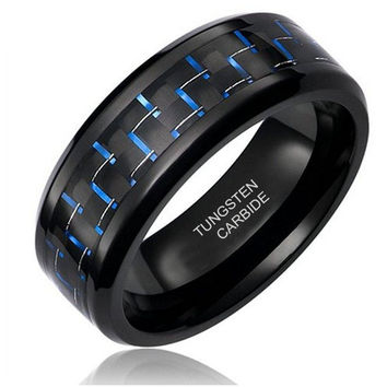 8MM Tungsten Carbide Men's Black and Blue Carbon Fiber Inlay Wedding Band Ring