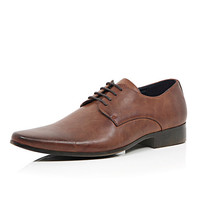River Island MensBrown matte pointed formal shoes
