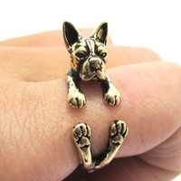 Realistic Boston Terrier Puppy Shaped Animal Wrap Ring in Shiny Gold | US Sizes 5 to 9