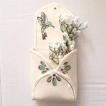 Garden Art - Ceramic Wall Pocket - Flower Holder - Flower Vase - Ceramic Envelope - Rustic Home Decor - Boho Ceramic Decor