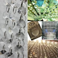 Octagon3 FT Clear Glass Chandelier Wedding Crystal Lamp Bean Chain Prisms [7978672199]