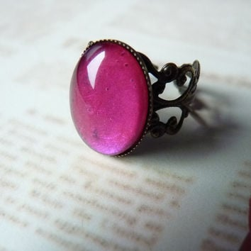 Metallic Pink Oval Gem Ring Kawaii Goth  by MichiMichiRainbow