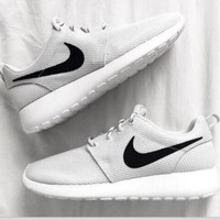 NIKE roshe Women Men Running Sport Casual Shoes Sneakers Grey