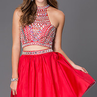 Dresses, Formal, Prom Dresses, Evening Wear: Two Piece Short Red Dress 6053 with Jeweled Bodice