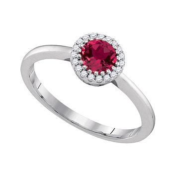 14kt White Gold Womens Round Natural Ruby Solitaire Diamond Halo Bridal Ring 1/2 Cttw