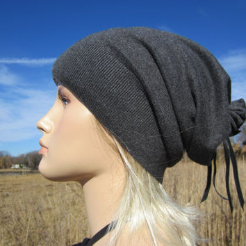 Our Basic Slouch Beanie Hat Unisex Cotton Cashmere Charcoal Gray Tam  A792