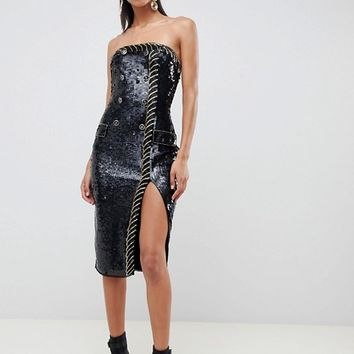 ASOS DESIGN Embellished Sequin Tux Bandeau Midi Dress at asos.com