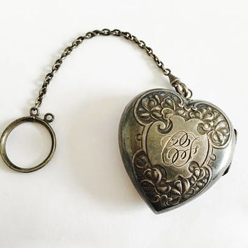 "Antique,Circa 1920's, German Silver, Heart Shaped Finger Ring Compact with Initials ""CF"" on Front, Vintage Compact"