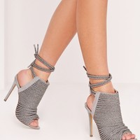 Missguided - Peace + Love Rope Detail Peep Toe Ankle Boots Grey