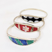 Alpaca Bracelet, Mother of Pearl, Abalone Inlay, Red and White, Hinged Bracelet, Vintage Bracelets