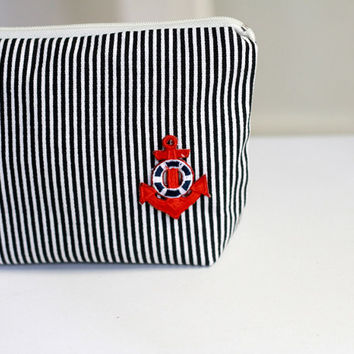 Cosmetic Bag nautical stripe, canvas pouch, zippered make up bag, anchor bag