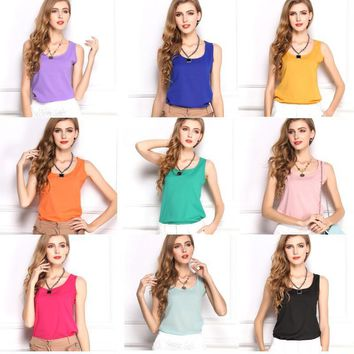 2018 New Cool Chiffon Tank Tops women Solid Color Summer Style base tees plus size