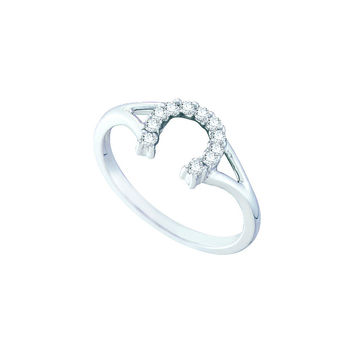 10kt White Gold Womens Round Diamond Lucky Horseshoe Split-shank Ring 1/10 Cttw 57484