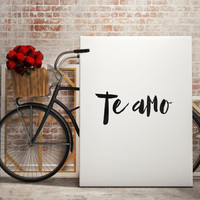 "Love poste Love print ""Te amo"" I love you quote Typography art Gift idea For couples Inspirational poster Motivational art Printable poster"