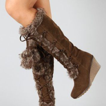 Breckelle Kansas-14 Pom Pom Fur Lace Up Wedge Boot
