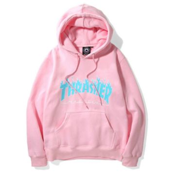Thrasher Flame sweater thick sets hooded long-sleeved loose couple coat Pink