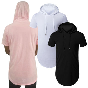 Fashion Spring New 2017 Men Hooded T Shirt Cotton Short Sleeve Zipper Tee Tops Punk Pullover Top Streetwear Men Tshirt M-XXL