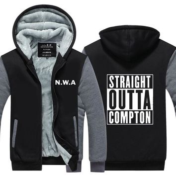 Straight Outta Compton NWA California GOTHIC Eazy E NWA Dr. Dre hip hop Hoodies men Thicken Fleece Coat USA EU size Plus size