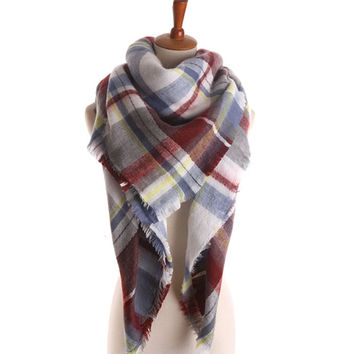 Winter Large Tartan Fashion Women Warm Blanket Scarf Lovely Wrap Shawl (140*140cm) [9572847503]