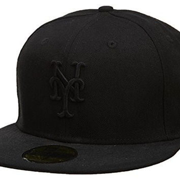 New Era New York Mets Fitted Hat Mens Style: HAT547-BLACK Size: 7