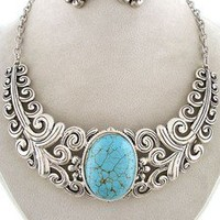Chunky Western Cowgirl Silver Scroll Art Design Turquoise Statement Necklace Set
