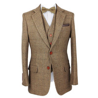 Retro Brown Herringbone Tweed wedding  custom men's 3 pieces Suit Blazer QE55
