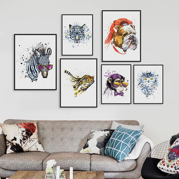 Original Watercolor Fashion Animals Head Zebra Lion A4 Large Art Prints Poster Wall Pictures Canvas Painting No Frame Home Decor