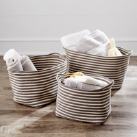 Regan Gray Striped Baskets