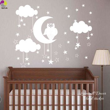 Owl Star Moon Cloud Wall Sticker Baby Nursery Animal Nature Space Wall Decal Kids Room Bedroom Vinyl Easy Art Mural Home Decor