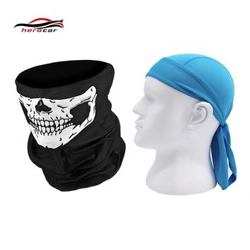 HEROBIKER 2 pieces Motorcycle Mask Balaclava Skull Ghost face shield Maske Biker Motor Windproof Caps Helmet Headwrap Bandana