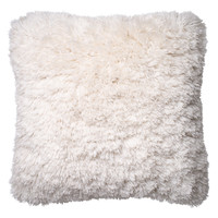 Loloi Pillows Ribbon Shag Pillow - White