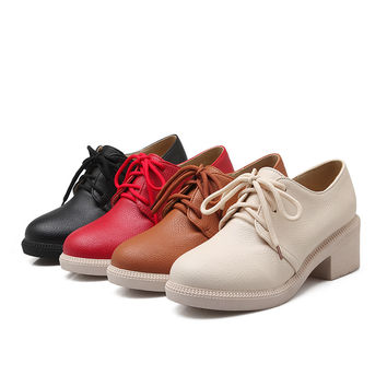 Lace Up Womens High Heel Ladies Pumps Round Toe Shoes