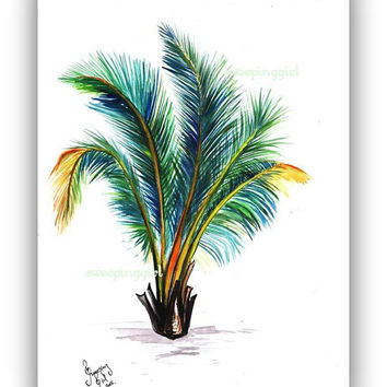 Baby Palm, watercolor painting print coconut tree palme tropical botanical palm leafwall art home decor decoration green eco poster decal