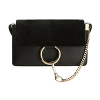 Chloé Faye Small Black leather and Suede shoulder bag