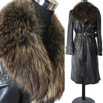 Vintage leather Jacket 70s Raccoon Fur Collar Leather Wrap Jacket Spy Coat Leather Coat Fur Coat Black Leather Jacket epsteam Winter Fashion