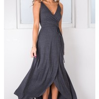 Lay It On Me dress in charcoal